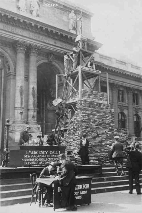 Call for book donations for ALA army libraries, New York Public Library, 1919.
