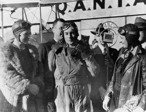 Aviatrix Jean Batten being interviewed after her flight from England to Australia, State Library of Queensland