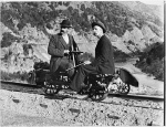 William Williams on a railway jigger, rabbit hunting in Otago, ca 1900