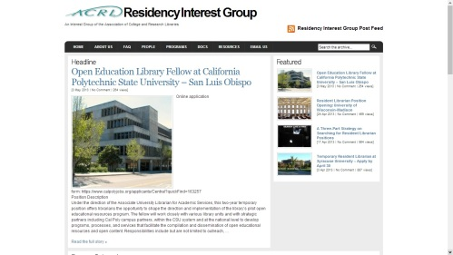 ACRL Residency Interest Group