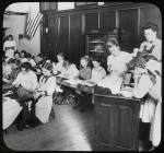 Digital ID 434250. Girls in classroom, Traveling Library at Public School Playground July 1910.. Hine, Lewis Wickes Photographer. 1910