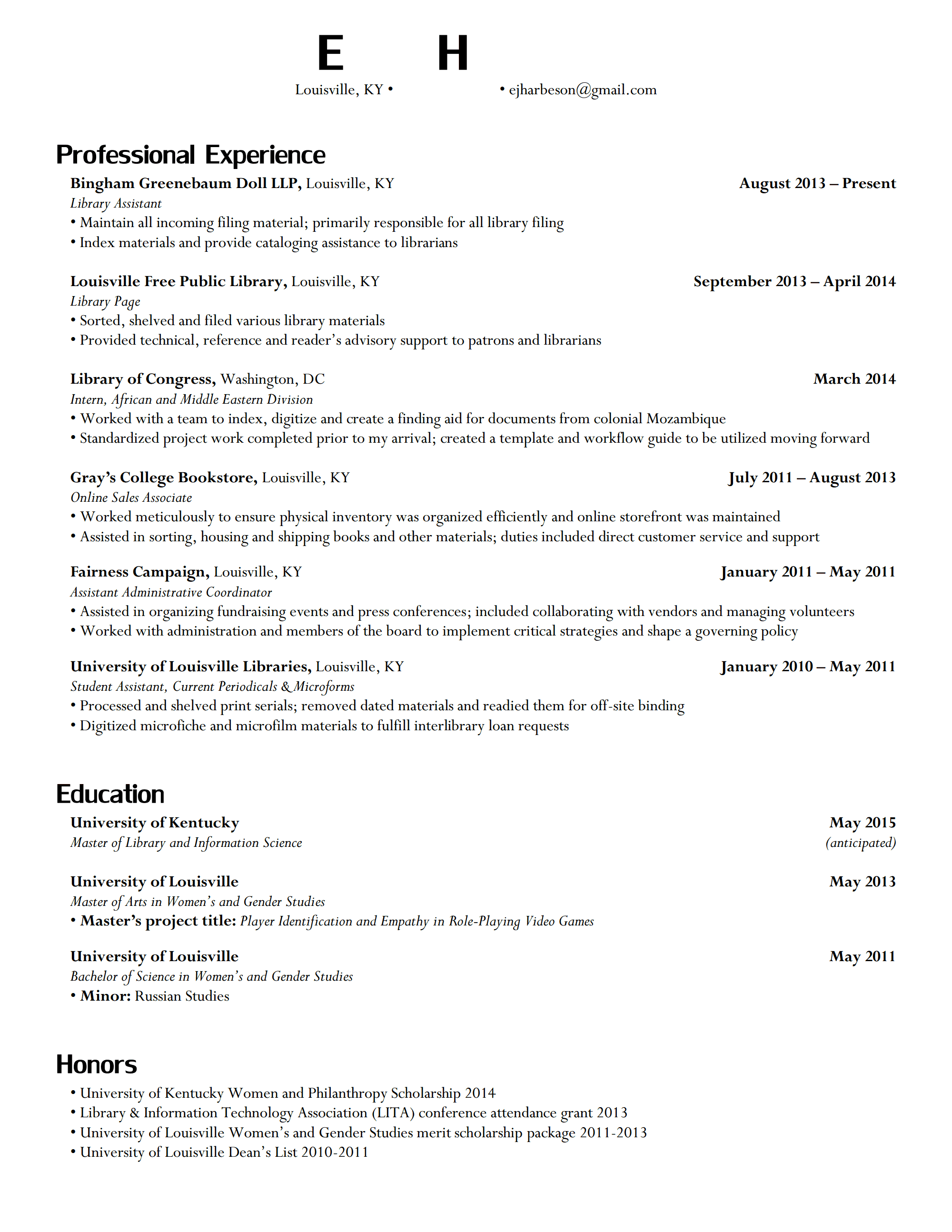 eh resume p1 - Sample School Librarian Resume