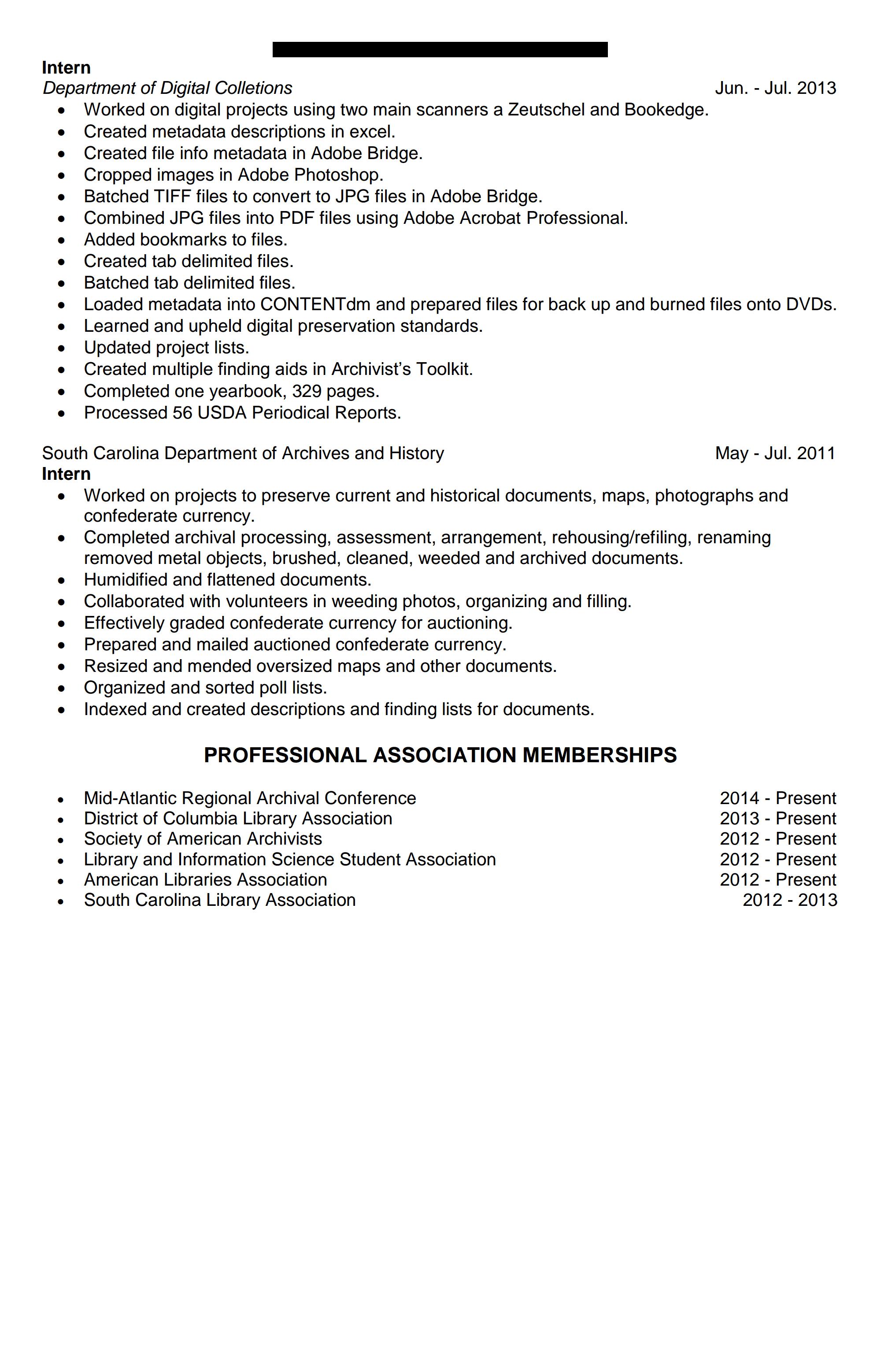 archivist resume sample