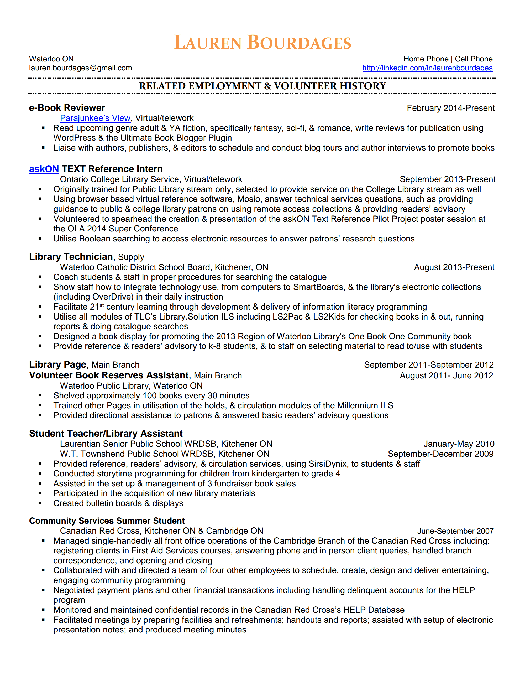 laurenbourdages resume page 1