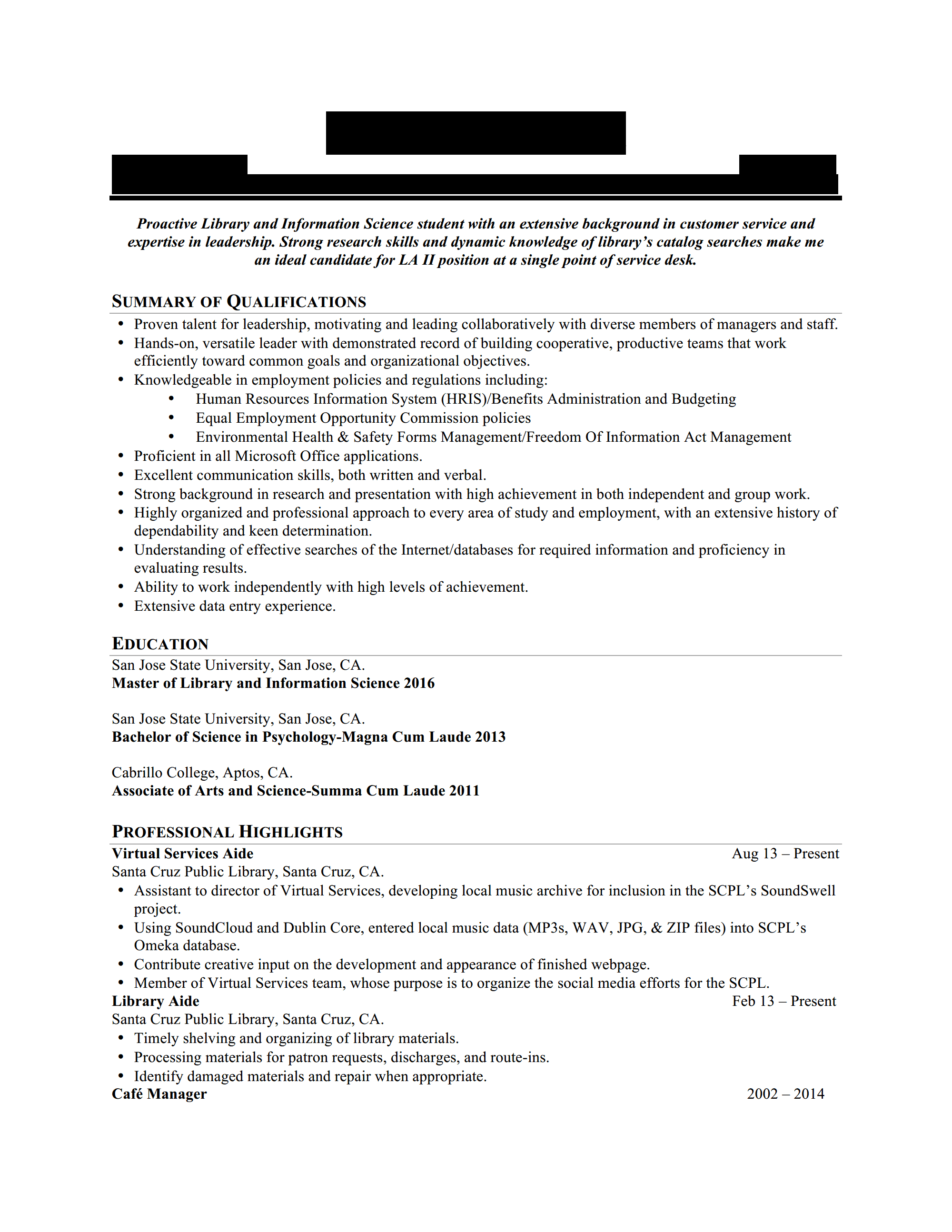 paraprofessional hiring librarians resume for critique 2014 page 1