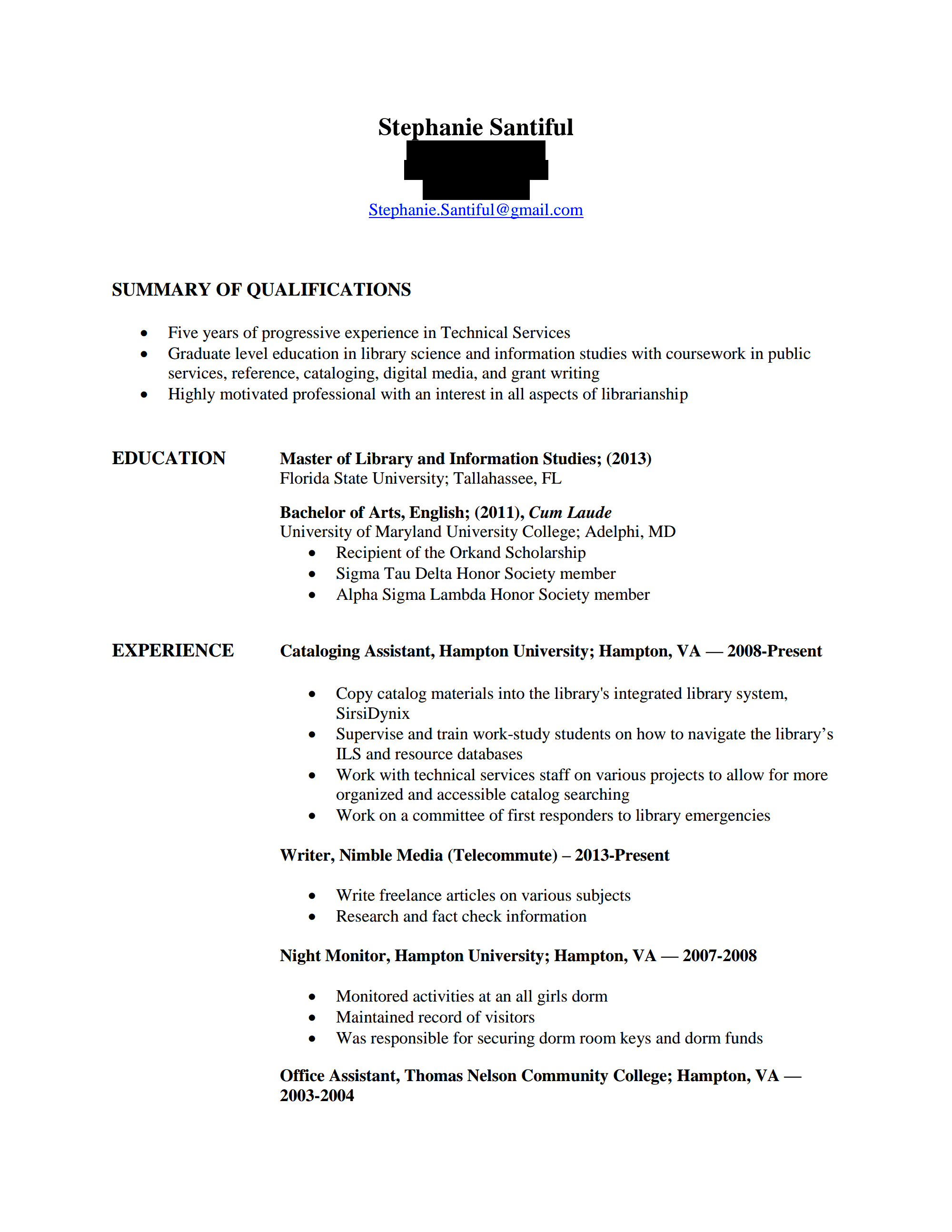 cv review hiring librarians page  stephanie santiful resume