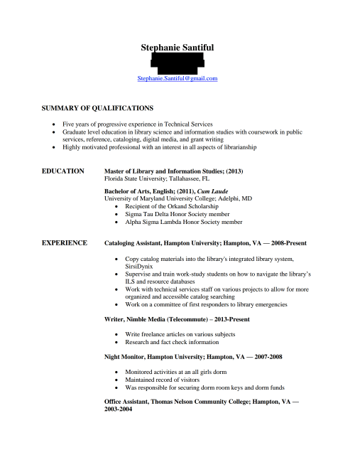 Stephanie Santiful Resume
