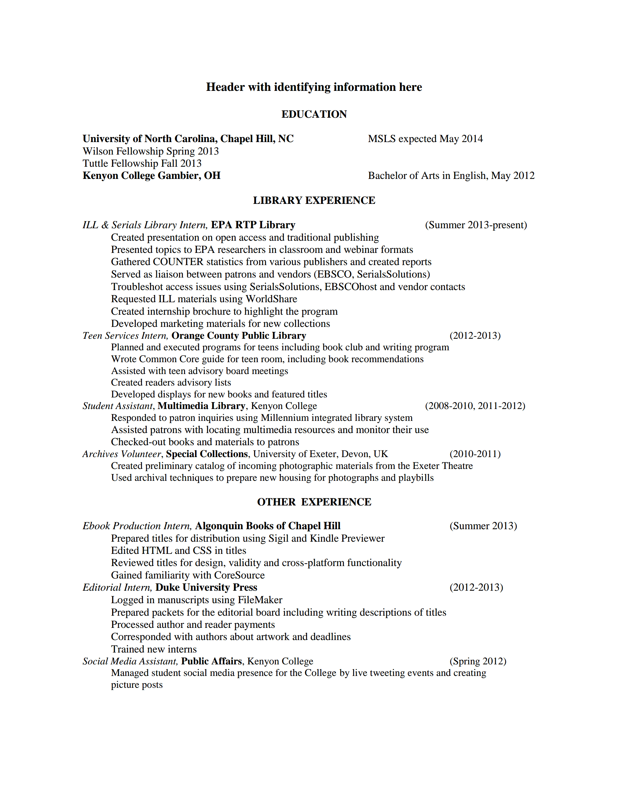 resume for library job career library cover letter mail room