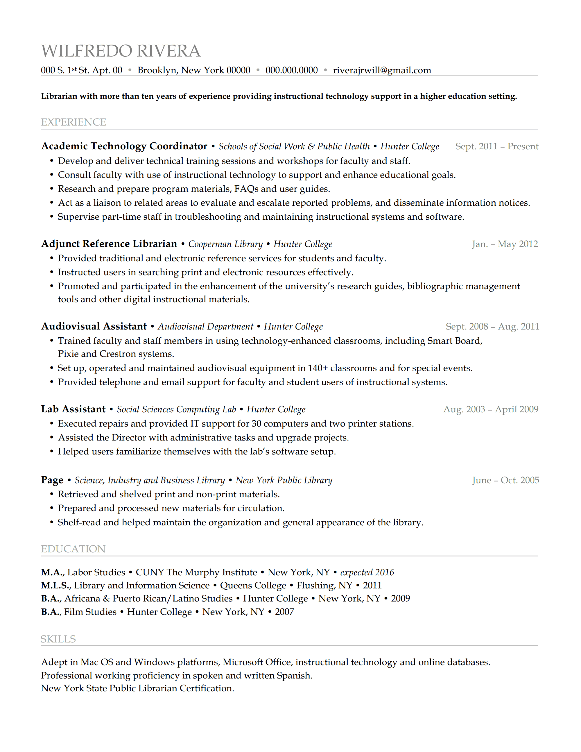 resume review hiring librarians page  wilfredoresreview p1