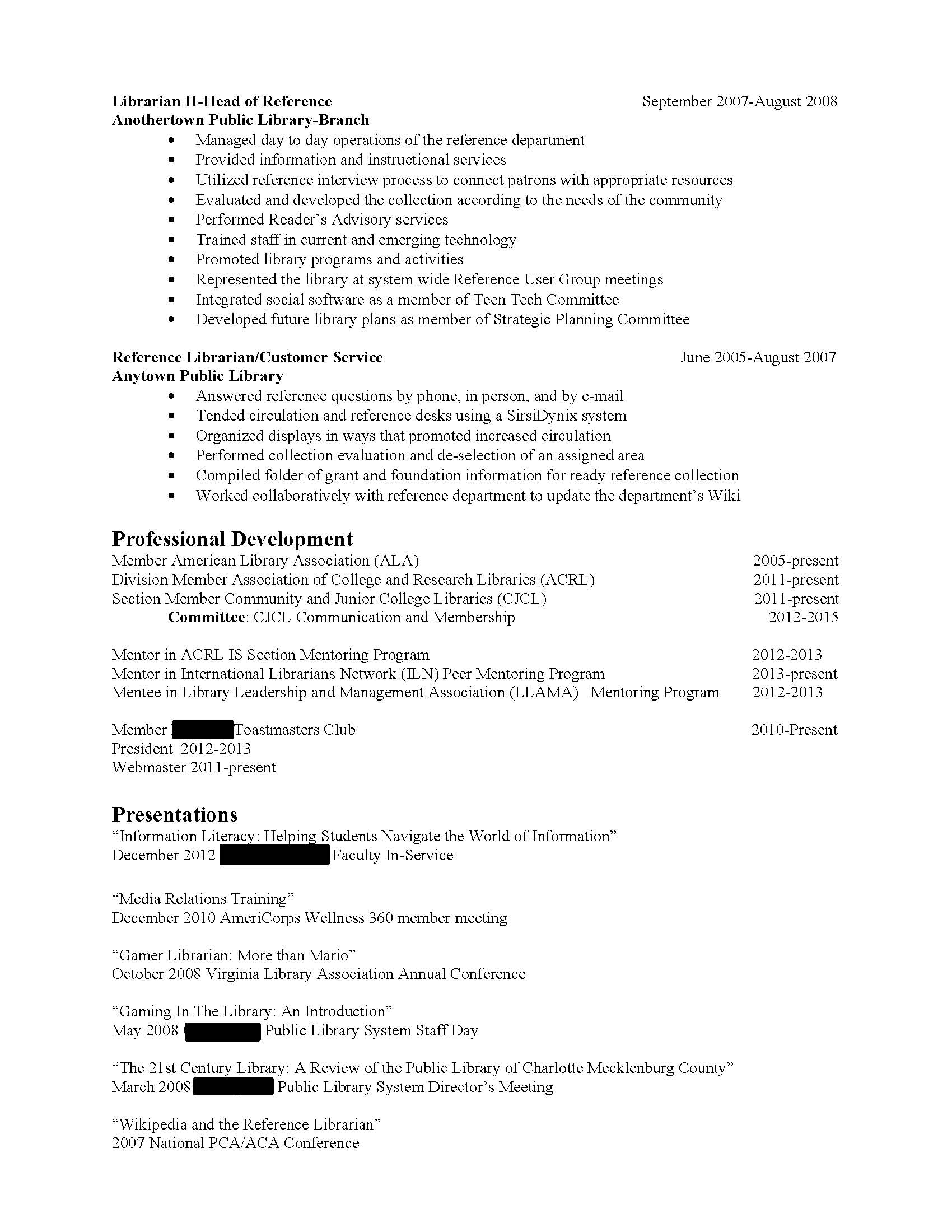 for - Sample School Librarian Resume