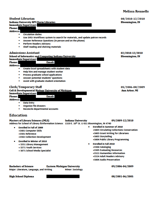 Coursework on a resume you list education first