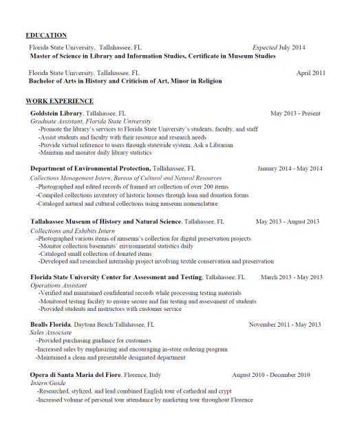 library resume