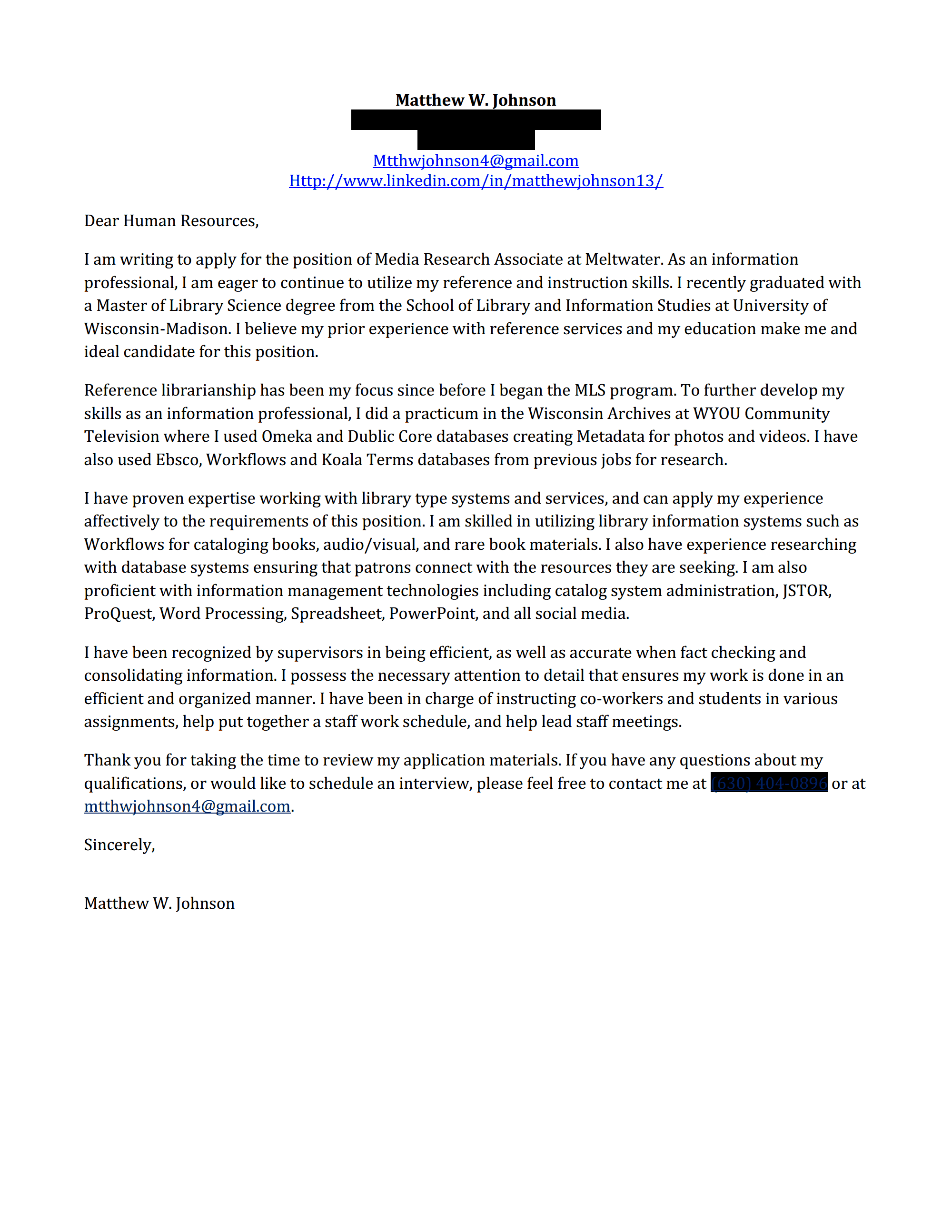 cover letter for school librarian position