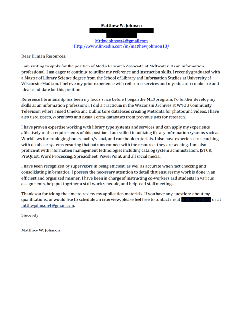school librarian cover letter
