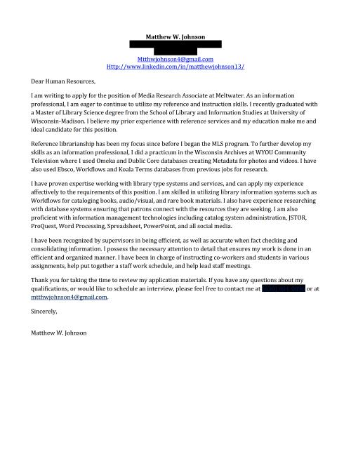 Cover Letter Matthew Johnson