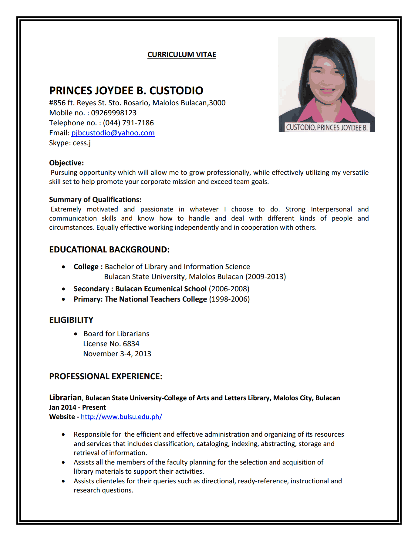 custodio1 custodio2 custodio3 - Librarian Resume Sample