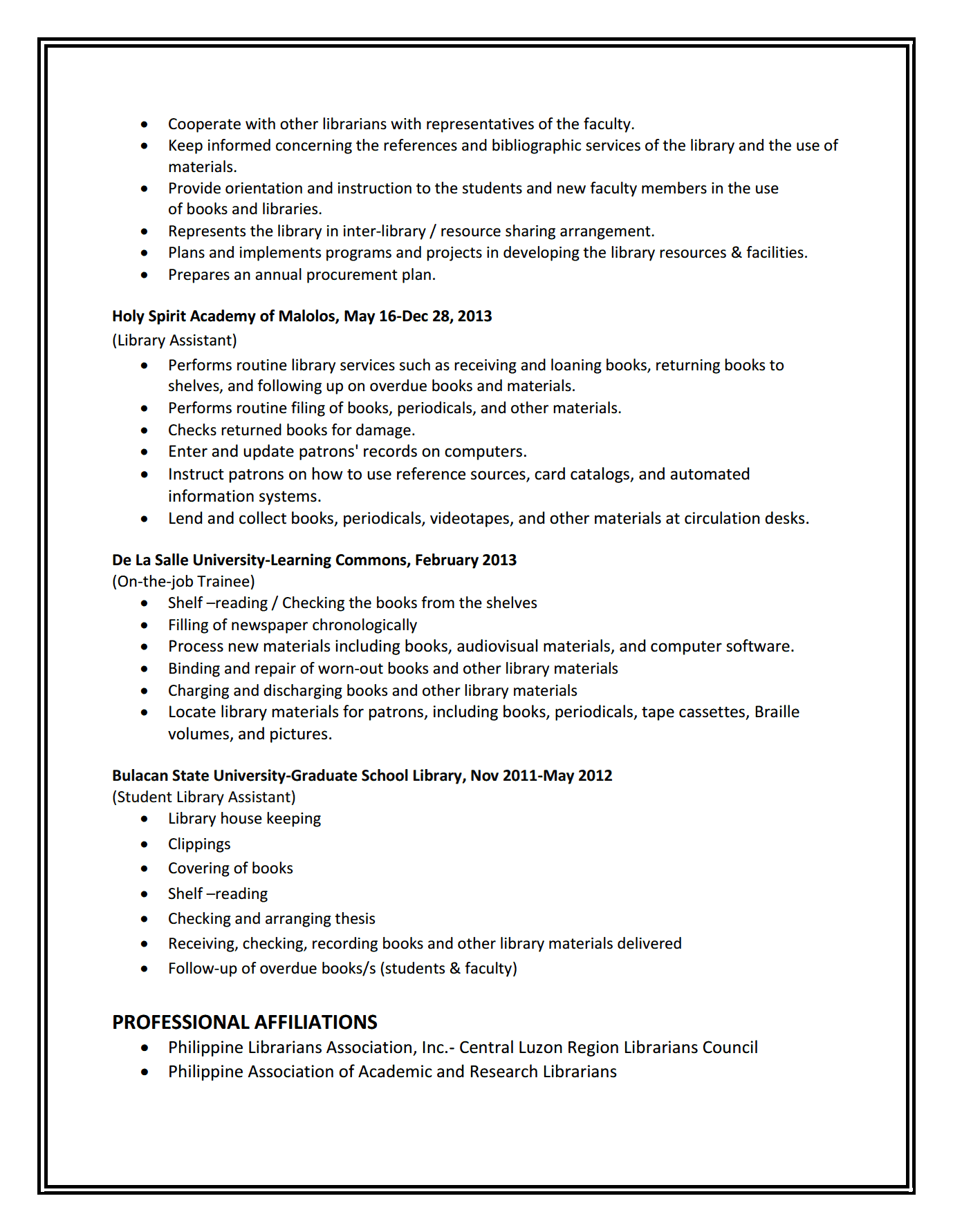 custodio1 custodio2 custodio3 - Sample School Librarian Resume