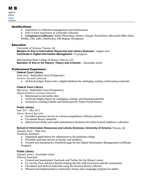 library assistant resume