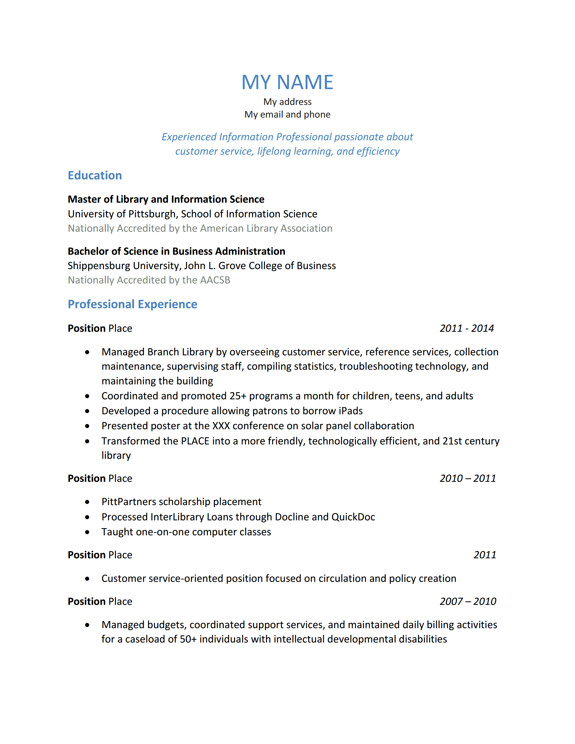 Working for a temp agency resume