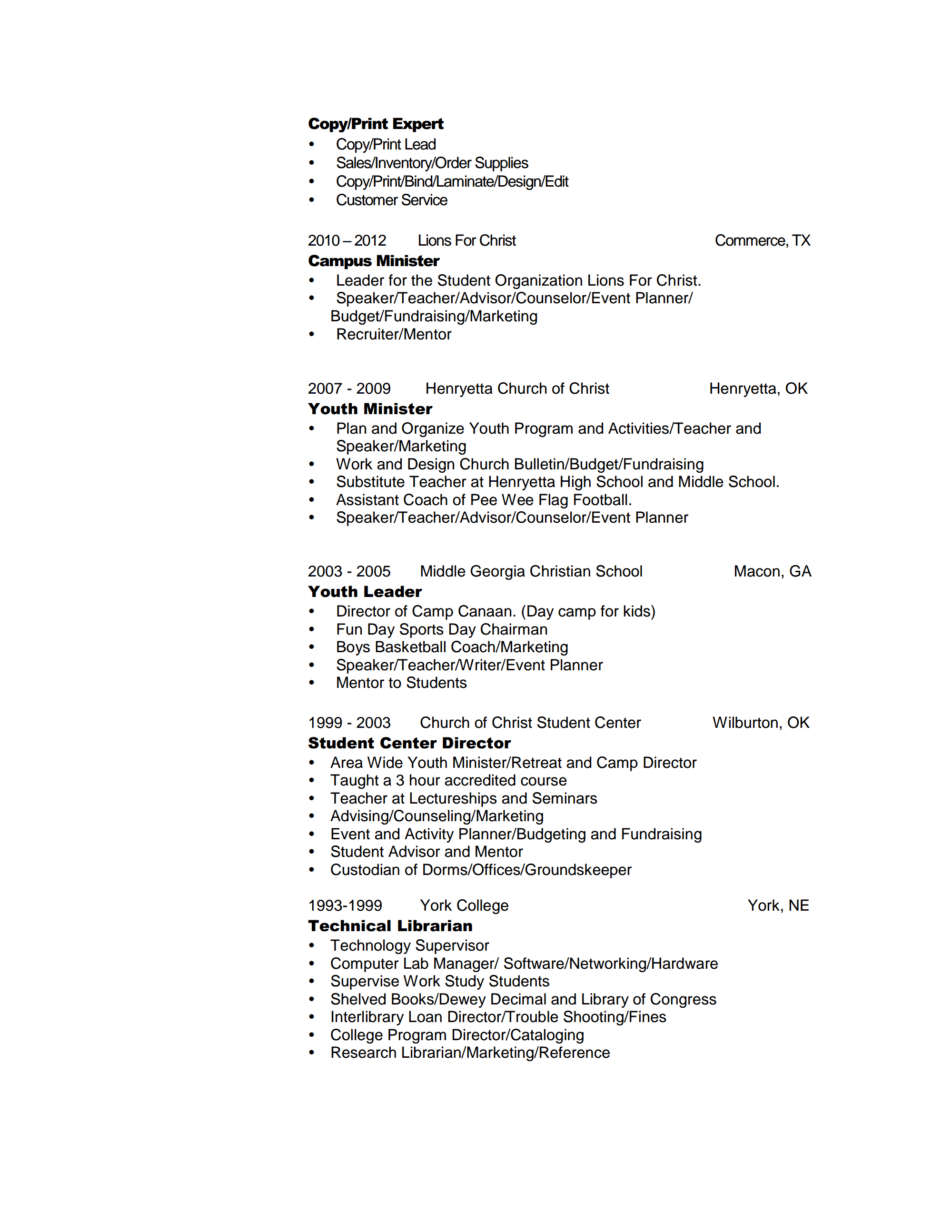 Resume For Your Review