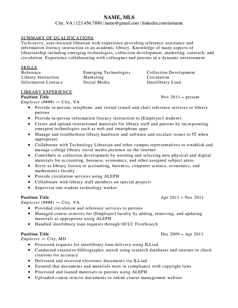 reference librarian resumes - Library Science Resume Template