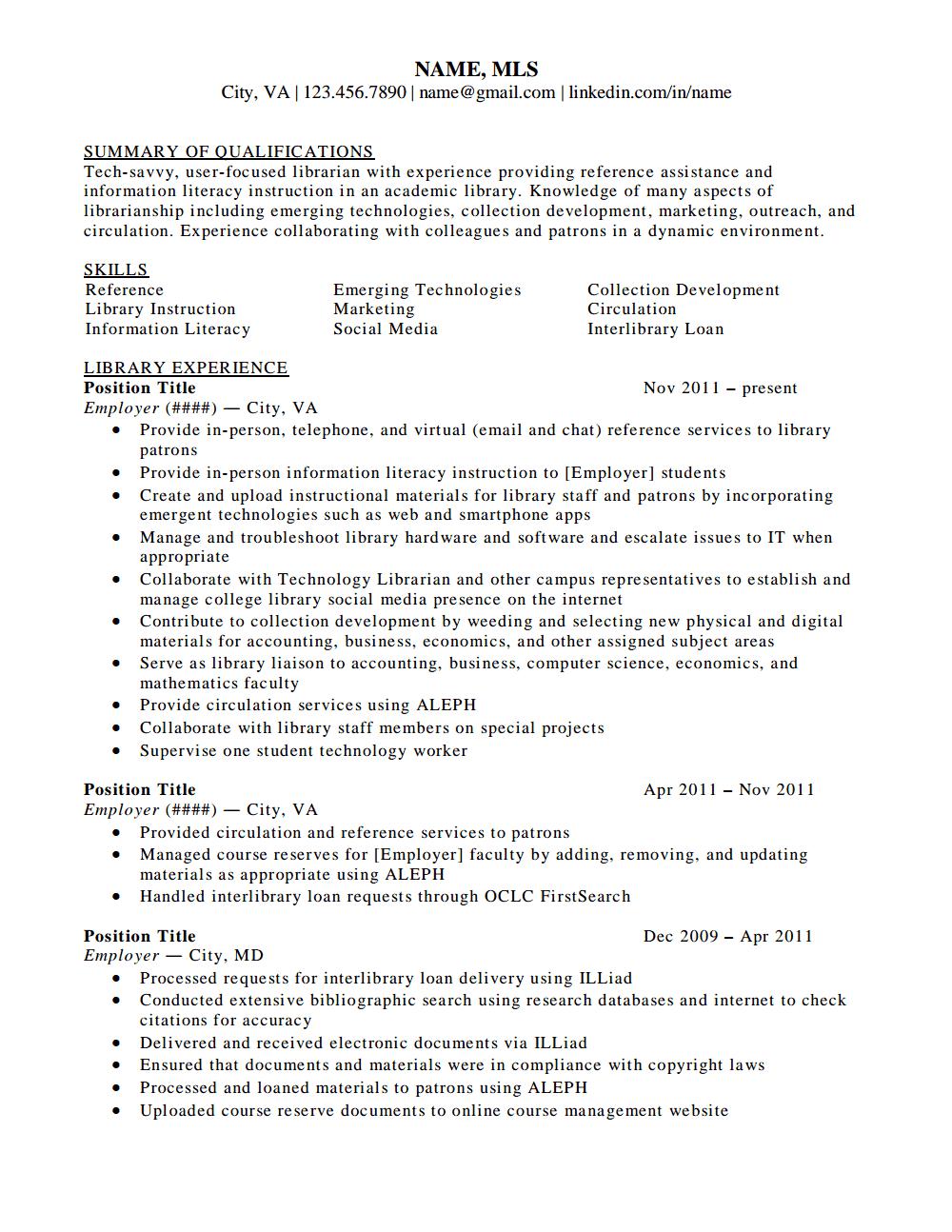librarian resume - solarfm.tk