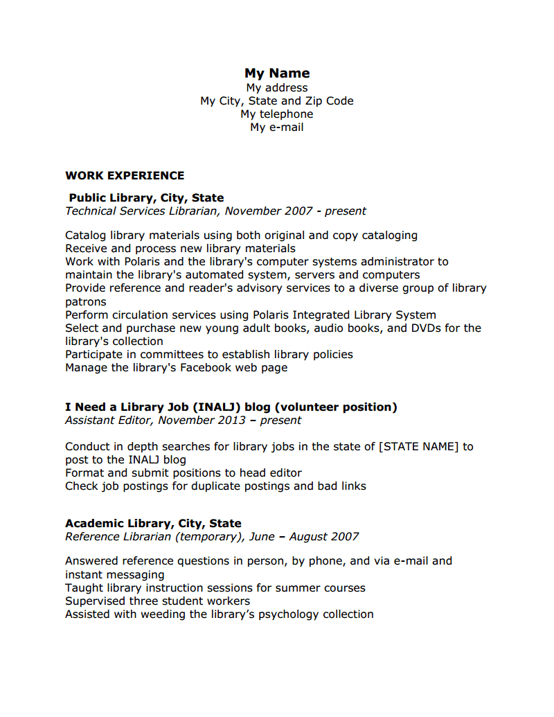 resume review hiring librarians page  i ve been using this resume to apply for librarian positions in technical services in both public and academic libraries
