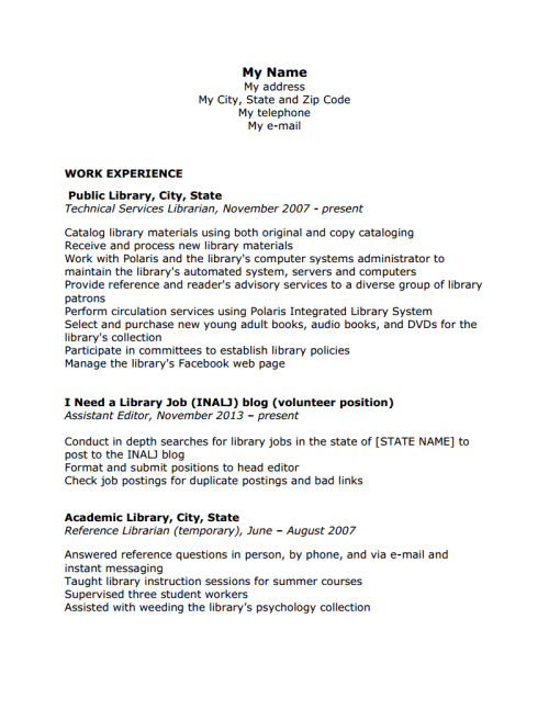Library page job resume