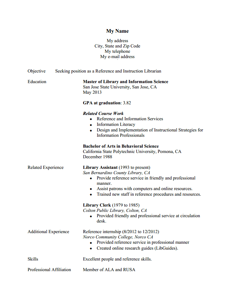 resume for part time jobs