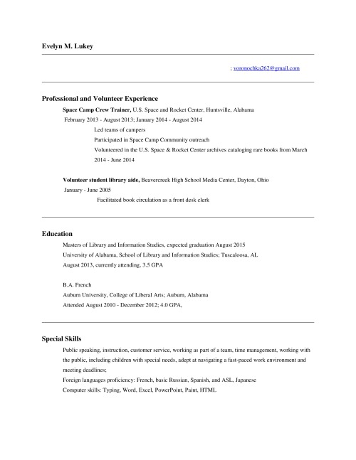 EL Resume Hiring Librarians