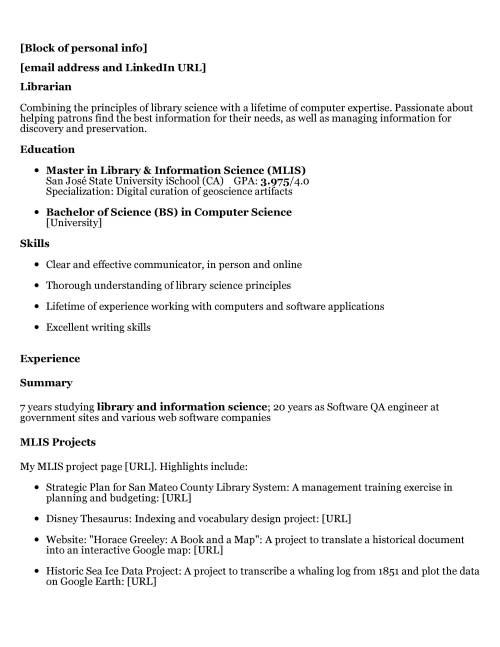 Resume Review | Hiring Librarians